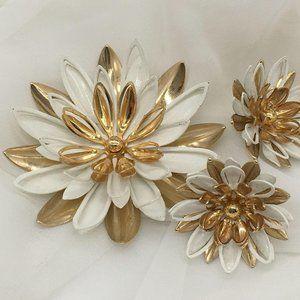 Sarah Coventry Set Brooch + Earrings Vintage Gldtn